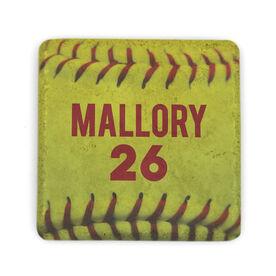 Softball Stone Coaster - Personalized Softball Stitches