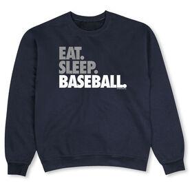 Baseball Crew Neck Sweatshirt - Eat Sleep Baseball Bold Text