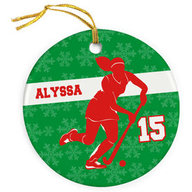 Field Hockey Porcelain Ornament Personalized Player Dribbling
