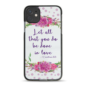 Personalized iPhone® Case - Polka Dot Flowers Custom Quote