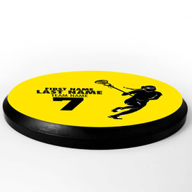 Girls Lacrosse Circle Plaque - Player With Text