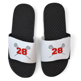 Guys Lacrosse White Slide Sandals - Crossed Sticks with Number