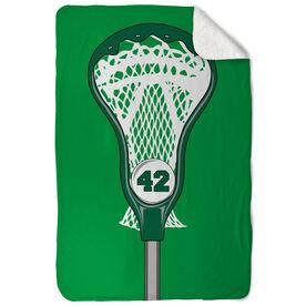 Guys Lacrosse Sherpa Fleece Blanket Personalized Stick Head