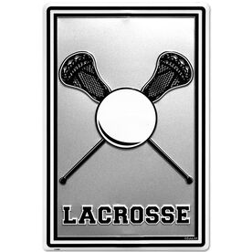"""Lacrosse Stick and Ball Aluminum Room Sign (18"""" X 12"""")"""