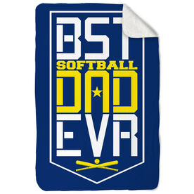 Softball Sherpa Fleece Blanket - Best Dad Ever Shield