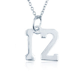 Sterling Silver Necklace - Jersey Number Necklace (Double Digits)
