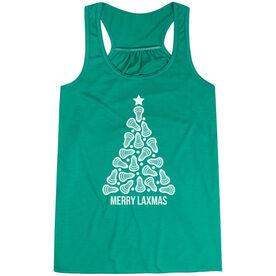 Lacrosse Flowy Racerback Tank Top - Merry Laxmas Tree