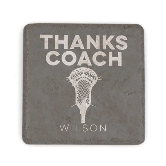 Guys Lacrosse Stone Coaster - Thanks Coach With Lacrosse Stick