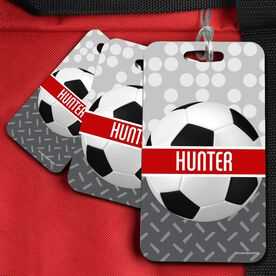 Soccer Bag/Luggage Tag Personalized 2 Tier Patterns with Soccer Ball