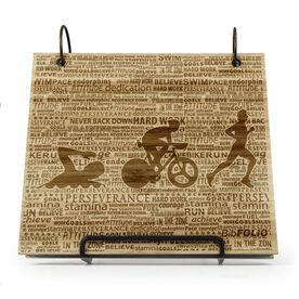 Engraved Bamboo Wood BibFOLIO® Race Bib Album - Swim Bike Run Inspiration Male