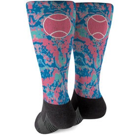 Tennis Printed Mid-Calf Socks - Floral Tennis Ball