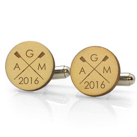 Crew Engraved Wood Cufflinks Crossed Oars Monogram With Year