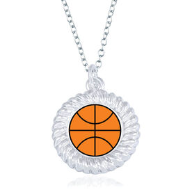 Basketball Braided Circle Necklace - Ball