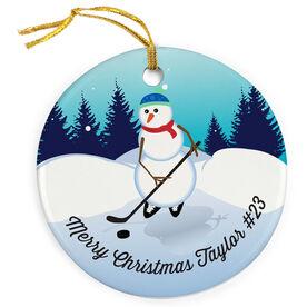 Hockey Porcelain Ornament Snowman