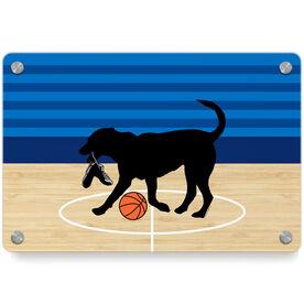 Basketball Metal Wall Art Panel - Baxter The Basketball Dog