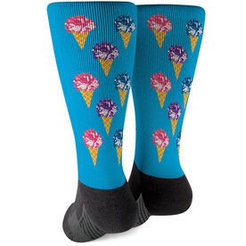 Cheerleading Printed Mid-Calf Socks - Scream For Ice Cream