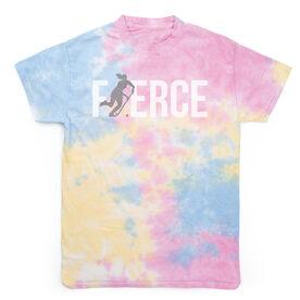 Field Hockey Short Sleeve T-Shirt - Fierce Field Hockey Girl with Silver Glitter Tie Dye