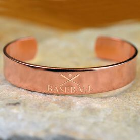 Baseball Crossed Bats Engraved Copper Bracelet