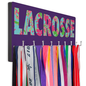 Girls Lacrosse Hooked on Medals Hanger - Floral