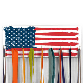 Baseball Hooked on Medals Hanger - American Flag