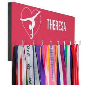 Gymnastics Hooked on Medals Hanger - Personalized Heart