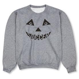Soccer Crew Neck Sweatshirt - Soccer Pumpkin Face