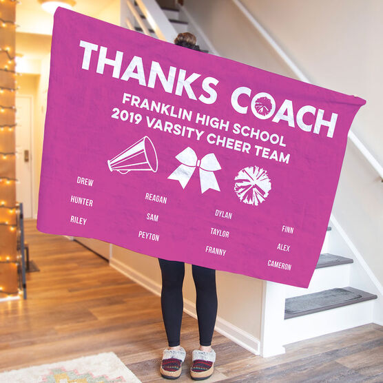 Cheerleading Premium Blanket - Thanks Coach (Horizontal)