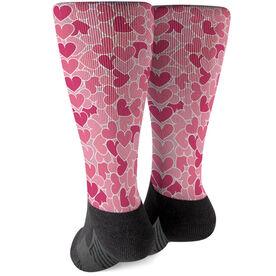 Printed Mid-Calf Socks - Heart Pattern
