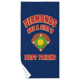 Softball Premium Beach Towel - Diamonds Are A Girl's Best Friend