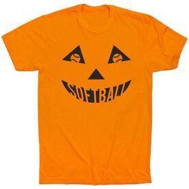 Softball Short Sleeve Tee - Softball Pumpkin Face