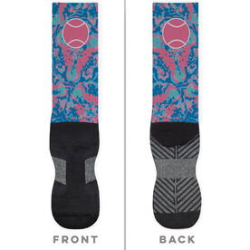 Tennis Printed Mid-Calf Socks - Floral Tennis Ball