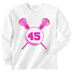 Girls Lacrosse Long Sleeve T-Shirt - Sticks with Number