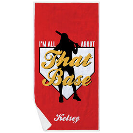 Softball Premium Beach Towel - I'm All About That Base