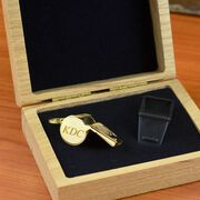 Engravable 14K Gold Coach Whistle In An Oak Case