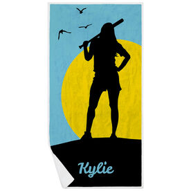 Softball Premium Beach Towel - Personalized Sunset Girl