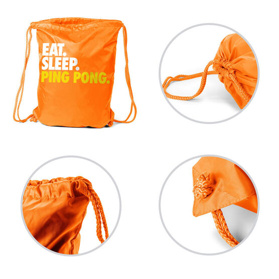 Ping Pong Sport Pack Cinch Sack Eat. Sleep. Ping Pong.