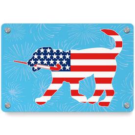 Field Hockey Metal Wall Art Panel - Patriotic Flick The Field Hockey Dog