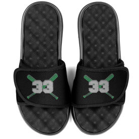 Baseball PR SOLES® Adjustable Strap Recovery Slide Sandals - Crossed Bats with Number