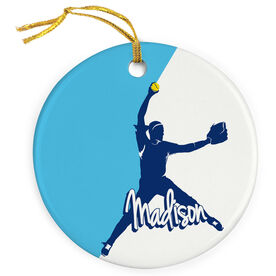 Softball Porcelain Ornament Personalized Softball Pitcher