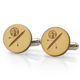 Crew Engraved Wood Cufflinks Silhouette with Monogram
