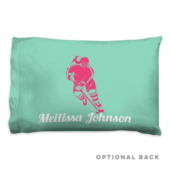 Hockey Pillowcase - Girl Silhouette