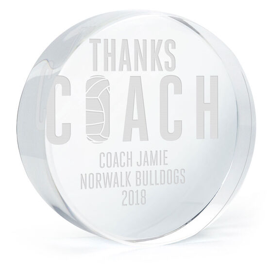 Volleyball Personalized Engraved Crystal Gift - Thanks Coach