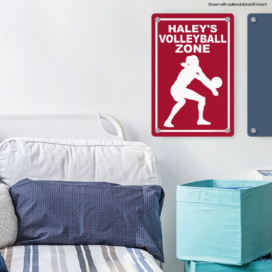 """Volleyball Aluminum Room Sign Personalized Volleyball Zone (18"""" X 12"""")"""