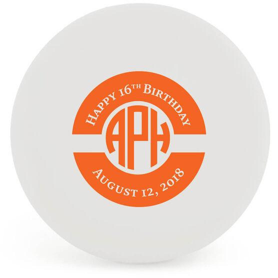 Personalized Birthday Monogram Lacrosse Ball (White Ball)