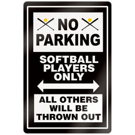 """Softball 18"""" X 12"""" Aluminum Room Sign - No Parking Sign With Crossed Bats"""