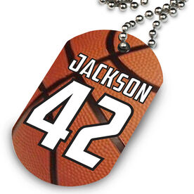 Basketball Printed Dog Tag Necklace Personalized Basketball Texture