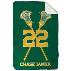 Guys Lacrosse Sherpa Fleece Blanket - Personalized Crossed Sticks with Big Number