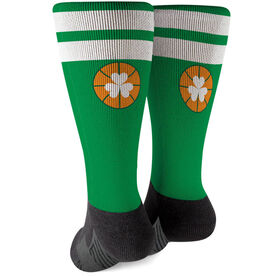 Basketball Printed Mid-Calf Socks - Shamrock with Stripes
