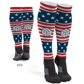 Volleyball Printed Knee-High Socks - USA Stars and Stripes