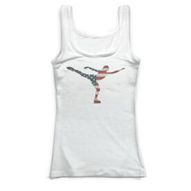Figure Skating Vintage Fitted Tank Top - American Flag Silhouette